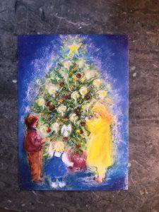Konstjulkort - julgransmotiv